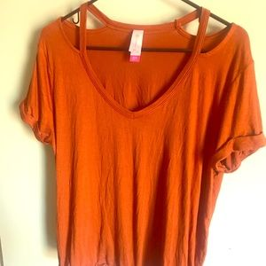 Burnt Orange tie front T-shirt
